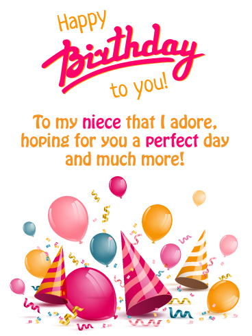 Festive Party Hats Happy Birthday Card For Niece Birthday Greeting Cards By Davia Birthday Cards For Niece Happy Birthday Niece Happy Birthday Niece Wishes