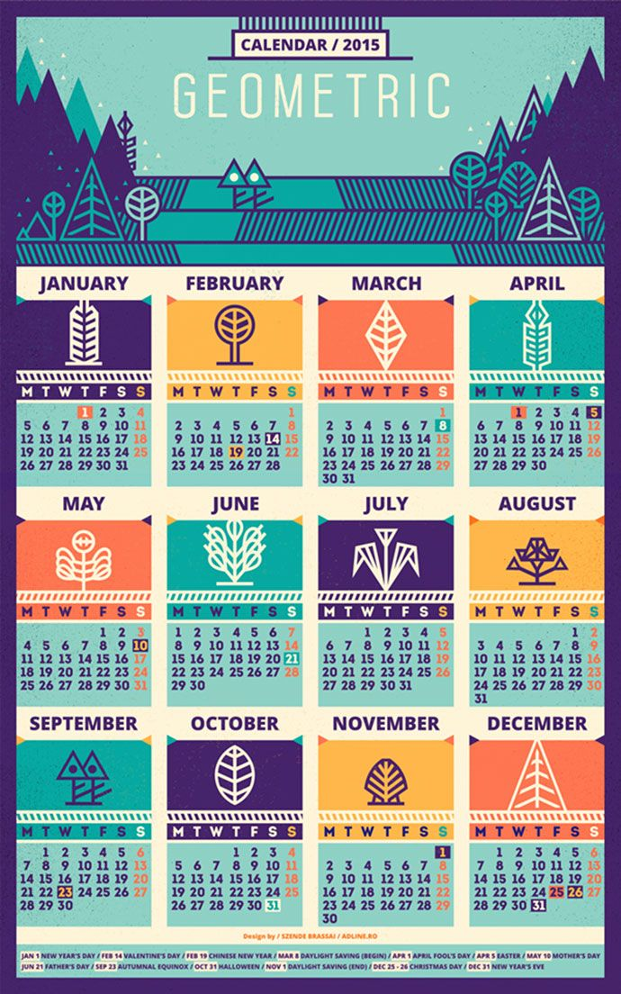 31 cool ideas for calendar design 2016 design inspiration calendar 2015 pattern by szende brassai publicscrutiny Image collections