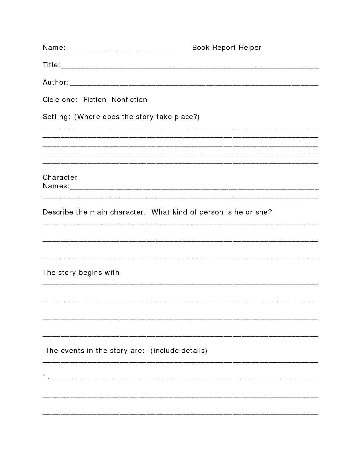 High School Book Report Outline  Name Book Report Helper Title