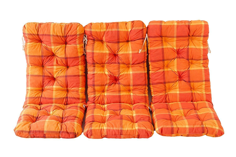 Ambientehome 3er Set Hochlehner Auflage Kissen Hanko Maxi Kariert Orange Ca 120 X 50 X 8 Cm Ruckenteil Ca 70 Cm Polsteraufla Polsterauflagen Polster Lehner