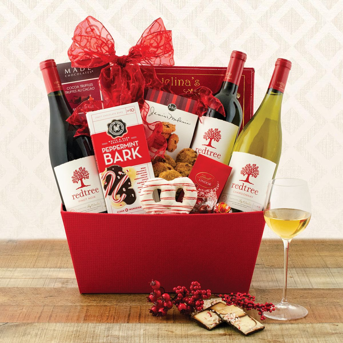 Joy to the world triple wine basket valentines day gift