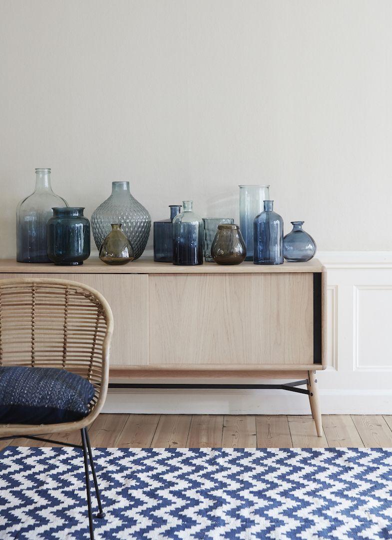 Teppich im nordischen Design gewebt, 120x180 cm blau