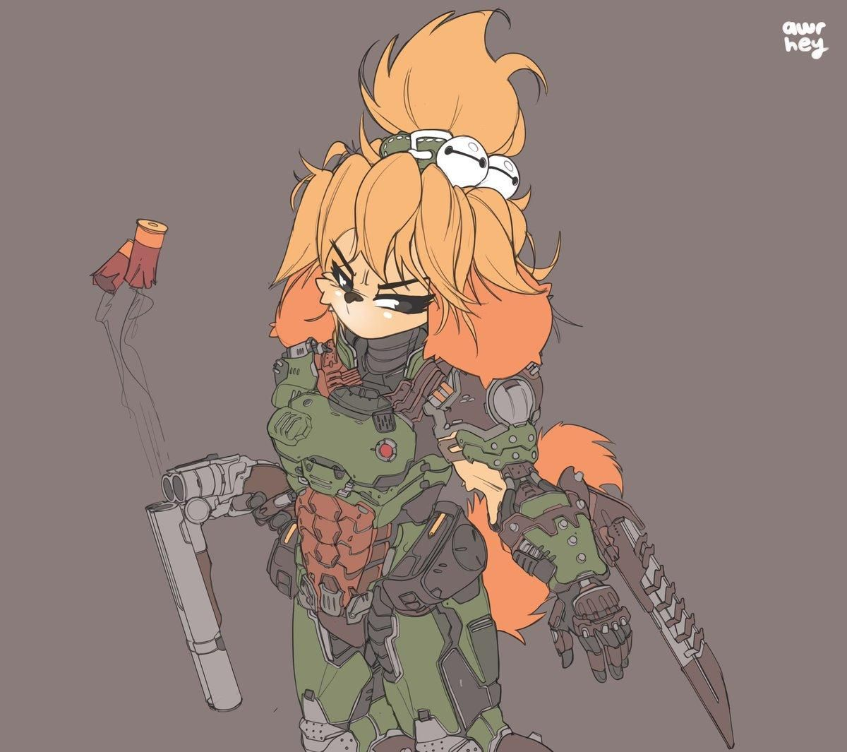 That S Isadoom She Has The Doomslayer Armor That S Why She Isadoom Doomguy And Isabelle In 2020 Animal