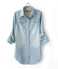 Women Girl Retro Vintage Long Sleeve Blue Jean Denim Shirt Tops Blouse 2 Styles
