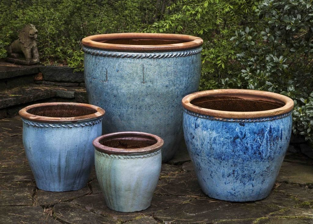 Chandor Planter Set Of 4 In Rustic Blue Blue Planter Planters Terracotta Pots