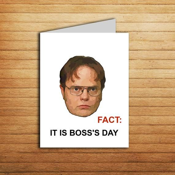 The Office Boss Day Card Printable Funny Bosss Gift For Man Male Lady Female Birthday