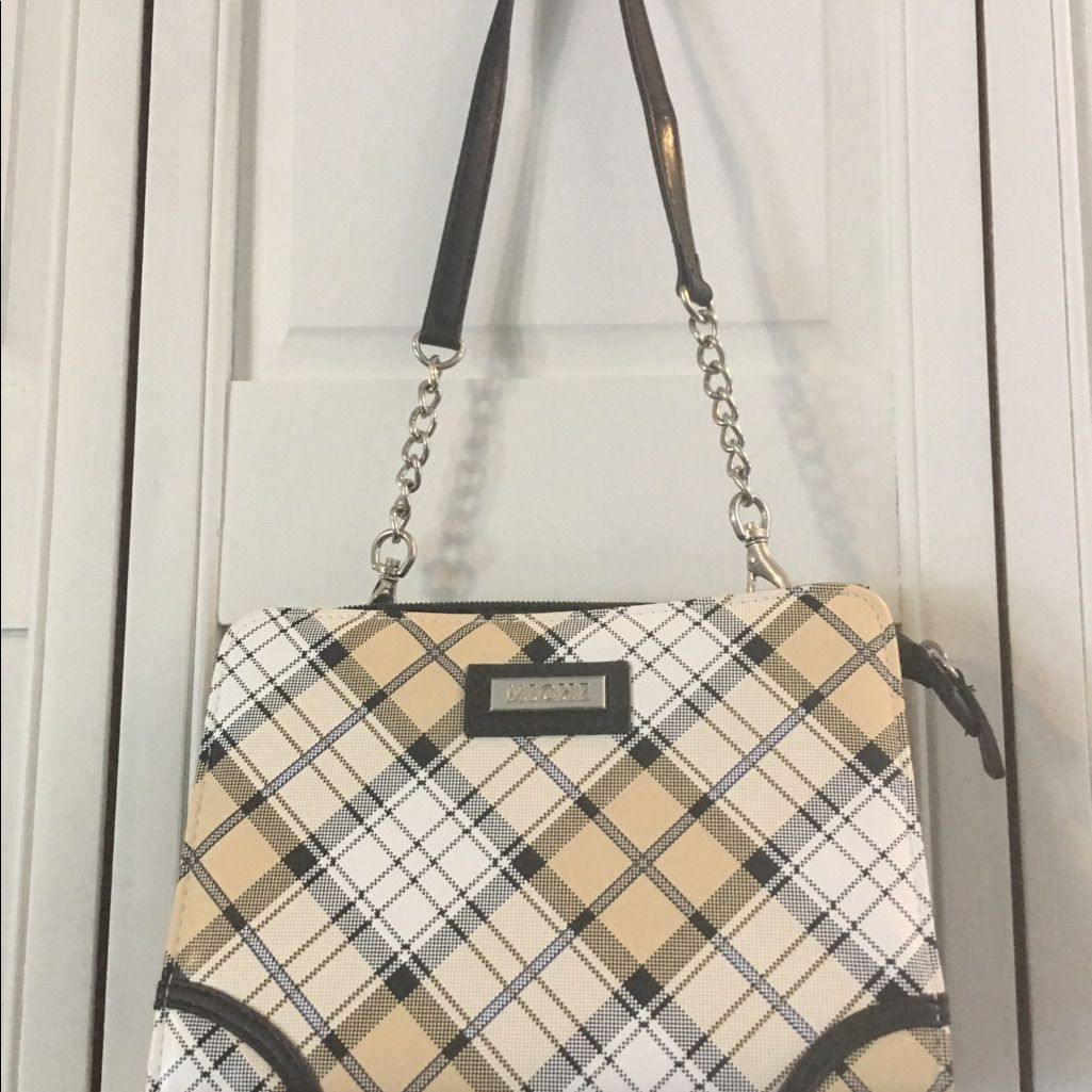 Flannel shirt bag  Mini Miche Black White Beige Plaid Design Purse  Plaid design