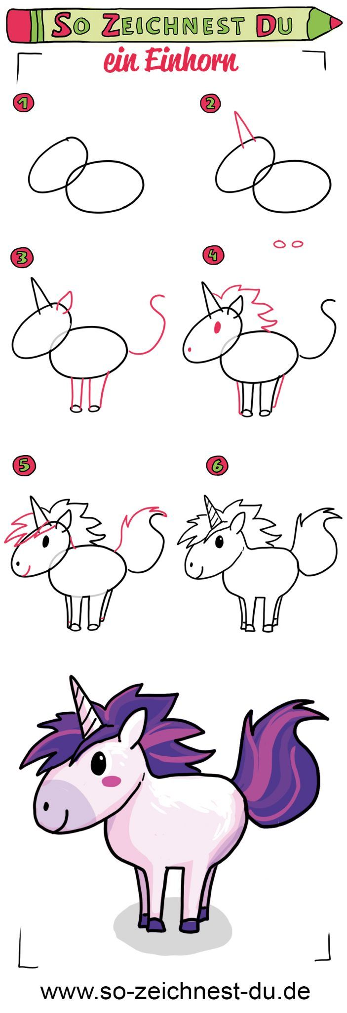 So Zeichnest Du Ein Einhorn Unicorn Drawing Easy Drawings Drawing Lessons