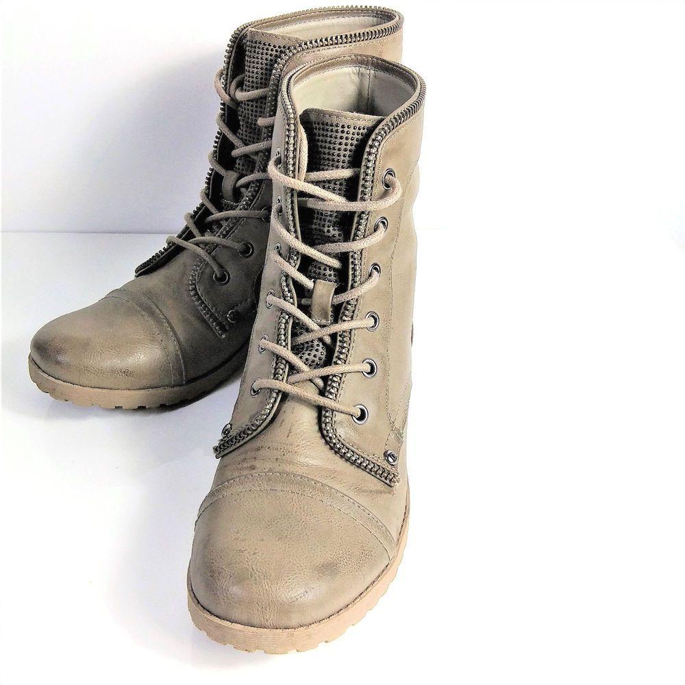 Combat Boots Zipper Trim Studded