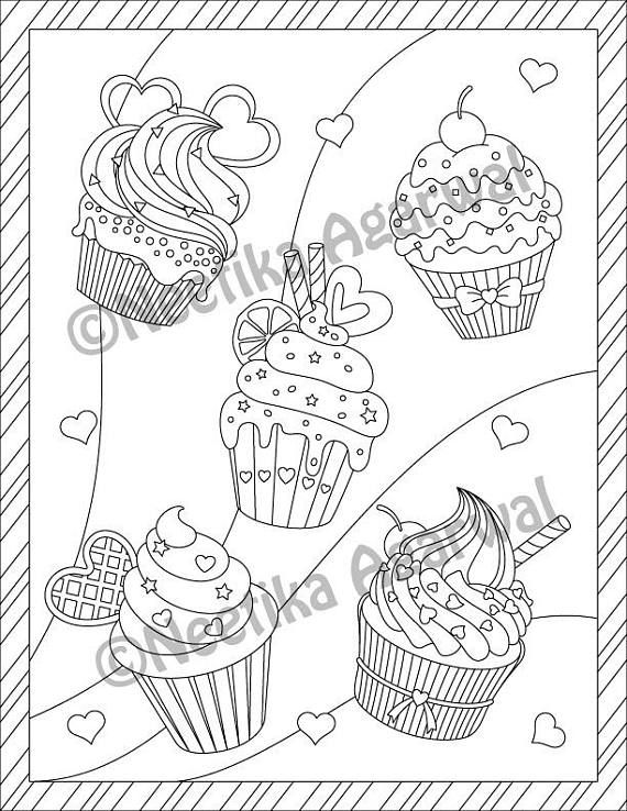 Celebrate Your Love For Coloring With This Beautiful Valentine Cupcake Themed Design Page Is Based On My Original Artwork And Has Been Turned Into