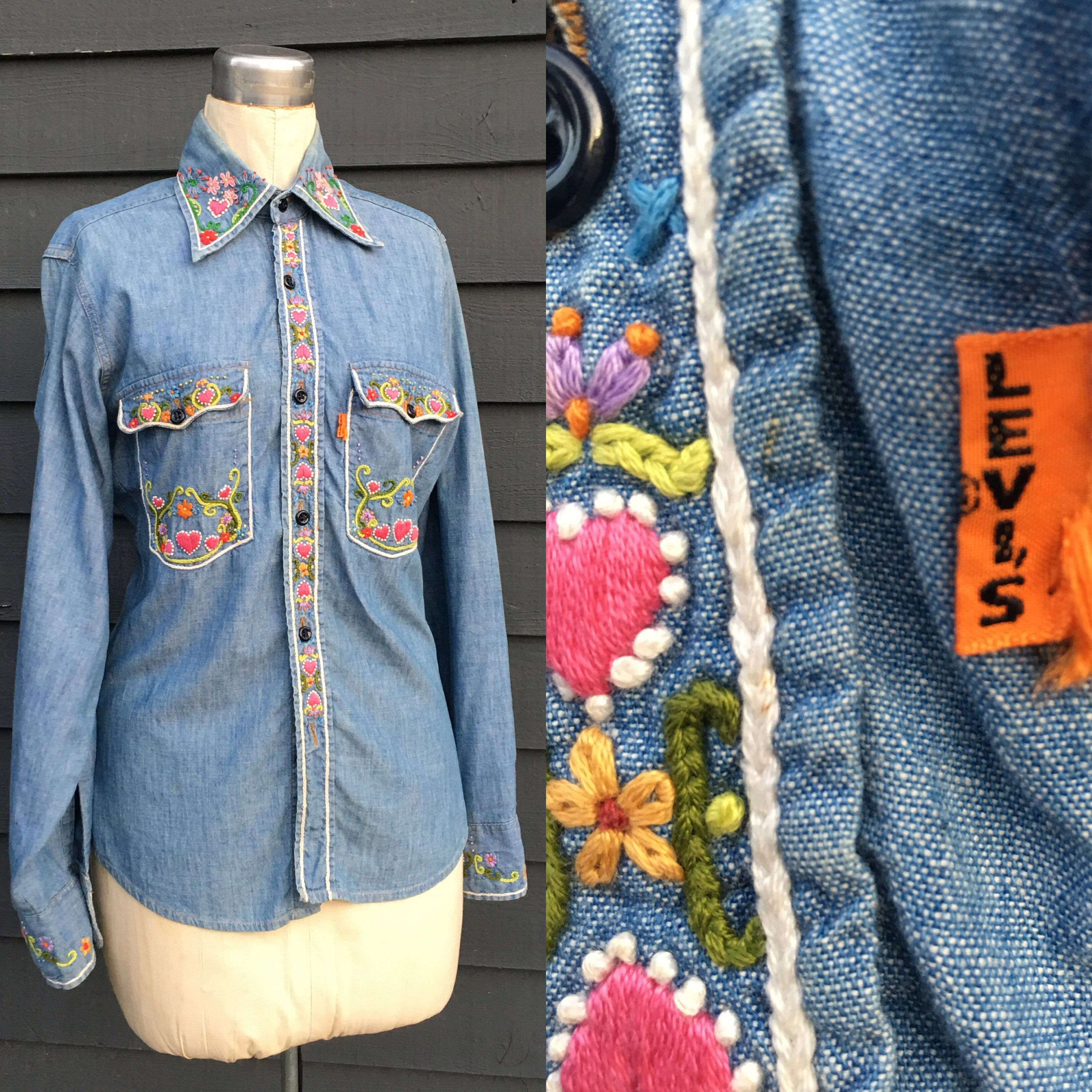 Vintage 1970/'s Hippie Linen Blouse with Metallic Embroidered Hem Detail