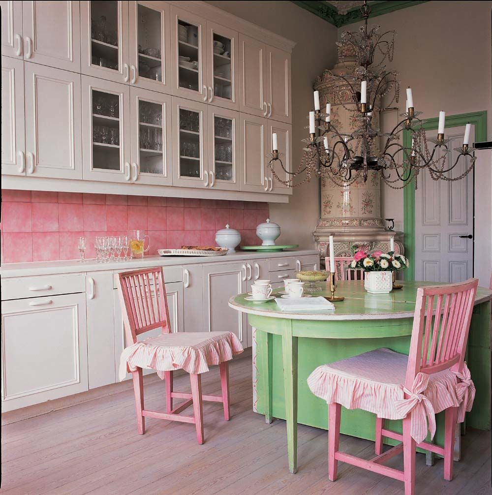 pretty pink backsplash in kitchen love the green and pink modern kitchen design chic on kitchen decor pink id=53169