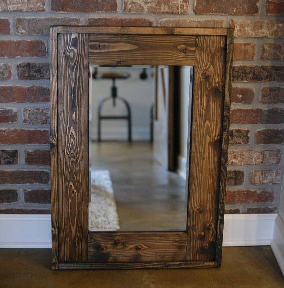 Rustic Wood-Framed Wall Mirror | Tocador pequeño, Muebles de pino y ...