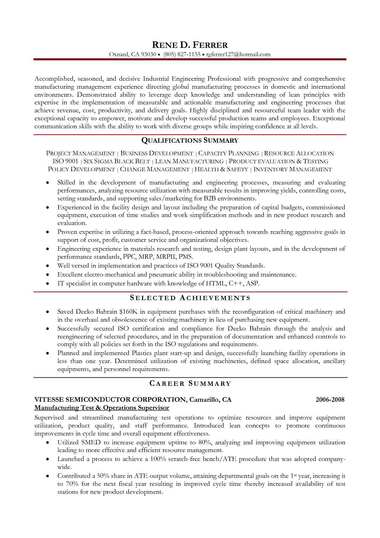 Manufacturing Engineering Resume Examples Picsora http