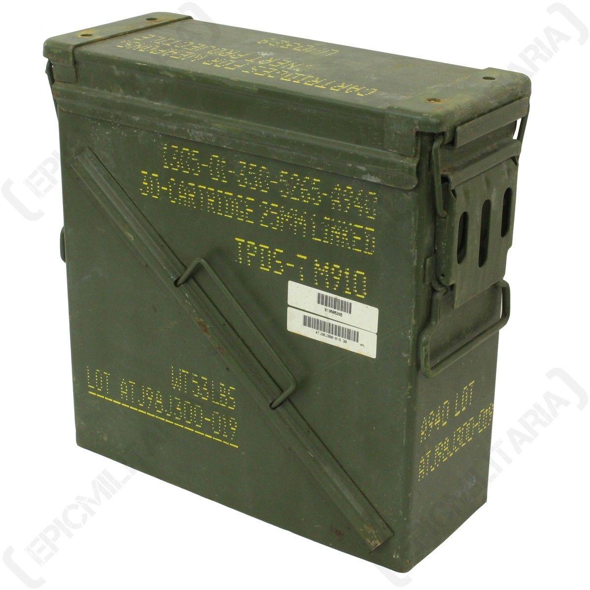 Original 30 Cartridge 25mm Ammo Tin Ammo Military Box Ammo Cans
