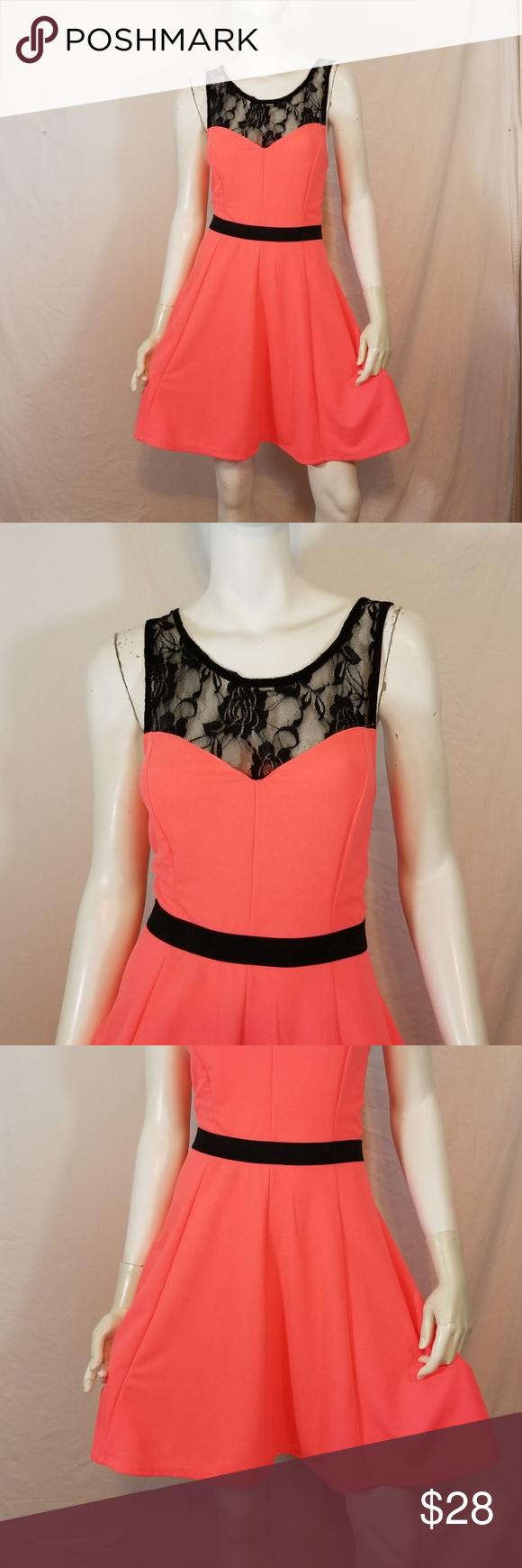 Hot pink and orange dress  Material Girl hot pink ebony lace flirty dress XL  My Posh Picks