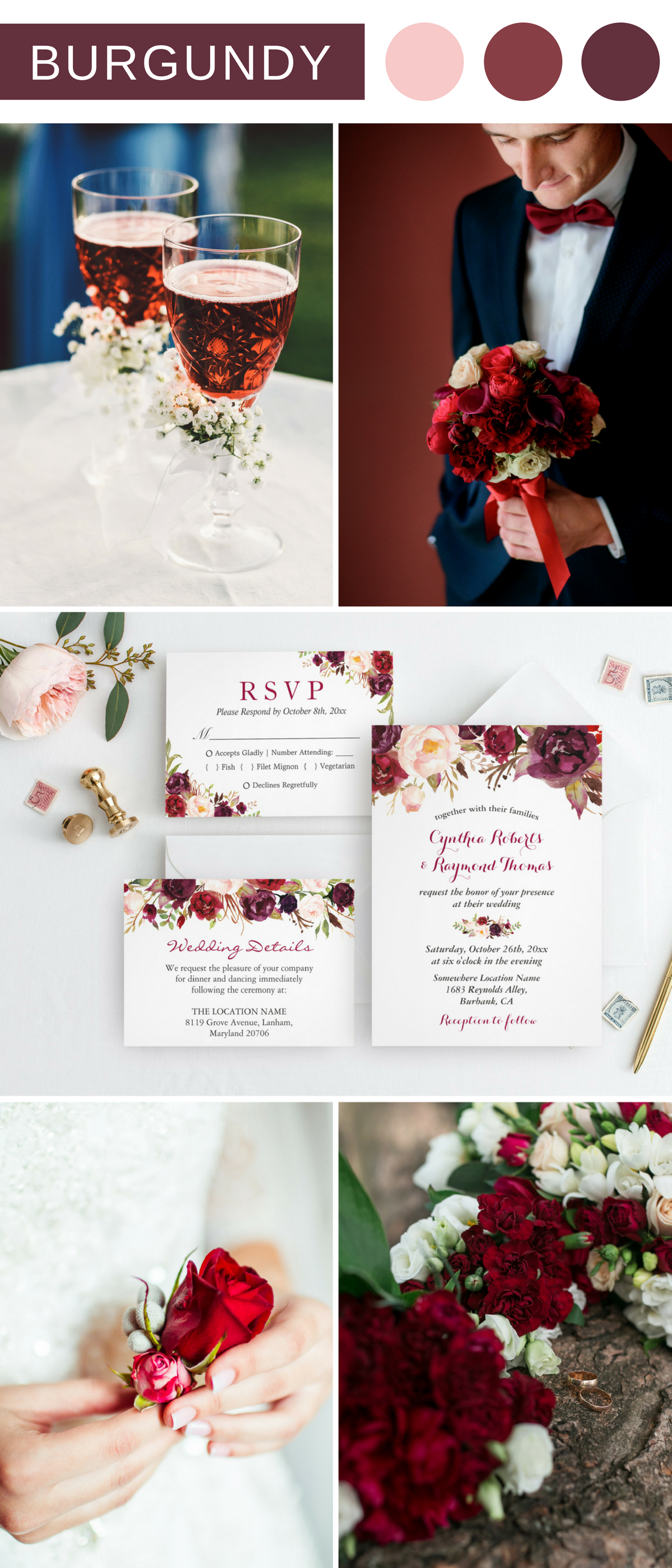 Burgundy Marsala Red Floral Wedding Invitation Suite | Wedding ...