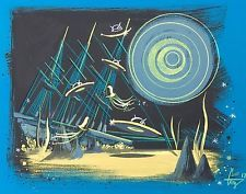 EL GATO GOMEZ PAINTING RETRO SCI-FI PULP OUTER SPACE FLYING SAUCER ILLUSTRATION