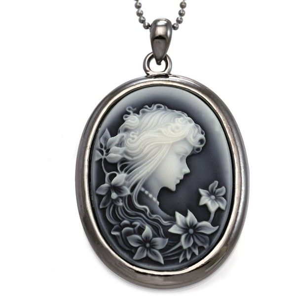 Amazon.com: SoulBreezeCollection Grey Cameo Pendant Necklace Charm... (€9,32) ❤ liked on Polyvore featuring jewelry, pendants, cameo jewelry, cameo charm, charm pendant necklace, grey jewelry and pendant necklaces
