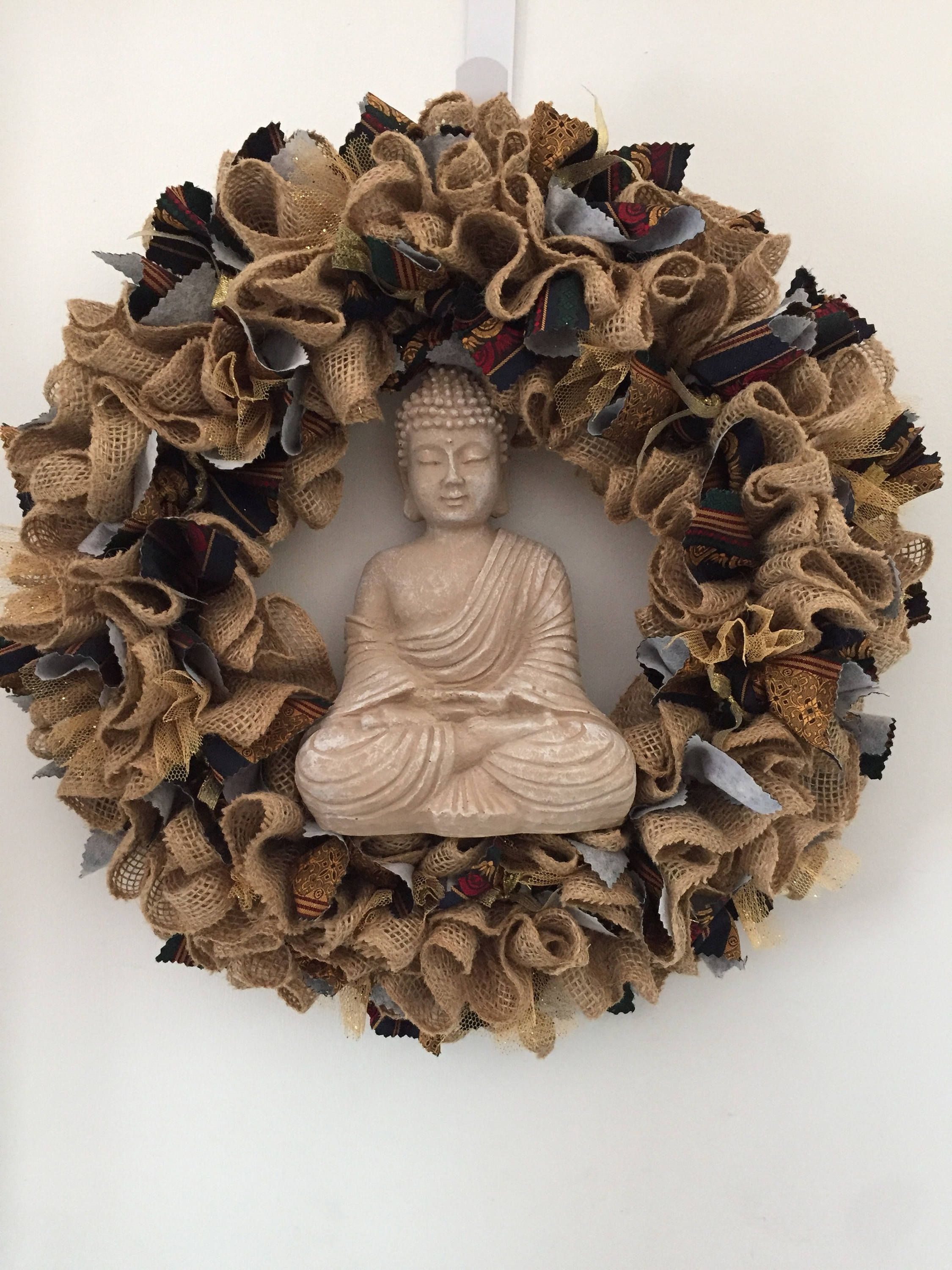 Burlap Buddha Wreath, Ribbon, Ruffle Wreath, Gold Ribon, Tan Burlap,