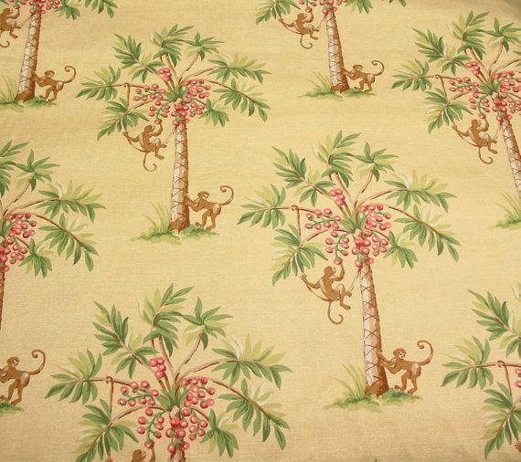 Kaufmann Monkey Fabric Pat Freund Design Monkeys Coconut Tree Palm