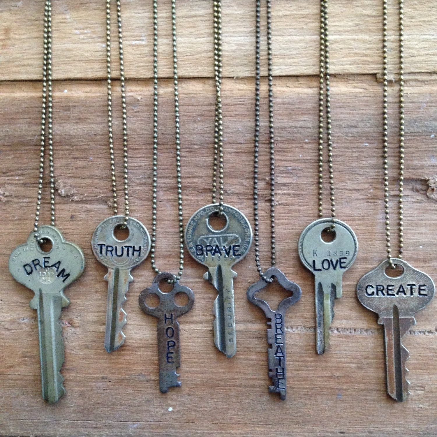 Key necklace hand stamped vintage key with inspirational for Words to wear jewelry