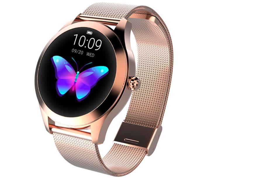 Luxe smartwatch voor vrouwen Smartwatch roségoudkleurig - mesh + horlogeband wit PU leder