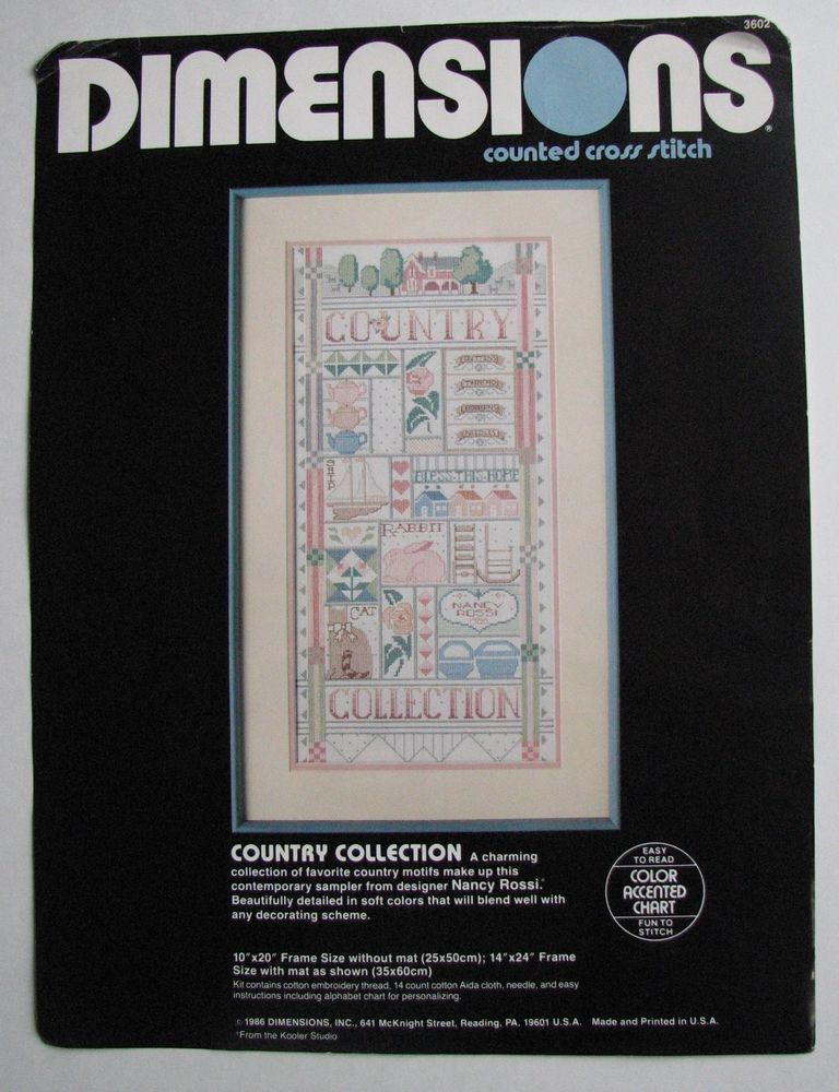 Dimensions Country Collection Cross Stitch Kit Nancy Rossi OPEN Package 1986 #Dimensions #Sampler