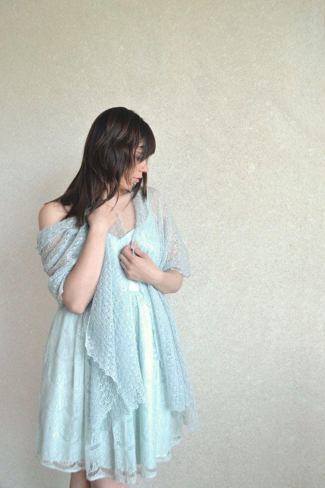 Linen Scarf / Shawl / Stole / Wrap Soft Sea Weave Spray / Dusk Blue Knitted Gauzy Lace. $39.99, via Etsy.