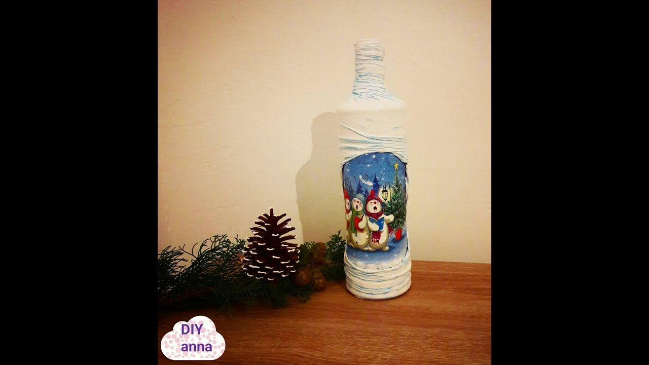 Christmas decoupage bottle with tights DIY shabby chic ideas decorations...