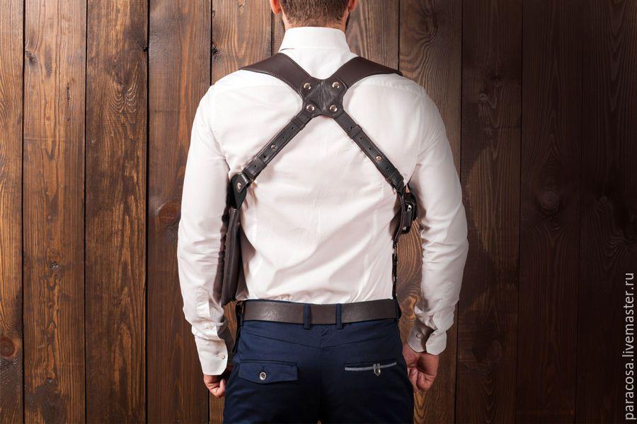 fbdbace89610 Мужские сумки ручной работы. Сумка кобура скрытого ношения с чехлом для  телефона из коричневой кожи