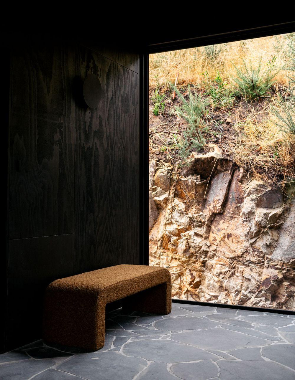 Slow Beam Is Hobart S Newest Hidden Accomodation Cabin Interior Design Beams Crazy Paving