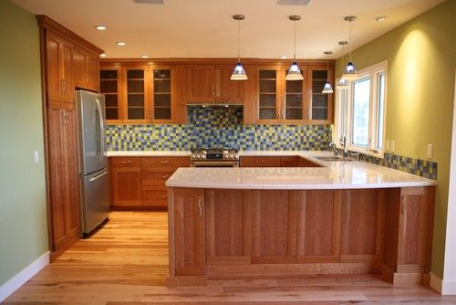 Natural Cherry Cabinets And White Countertops Cherry Cabinets Kitchen Kitchen Bathroom Remodel Cherry Kitchen