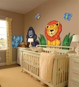 Jungle Animals 3d Wall Murals For Nursery Bedroom