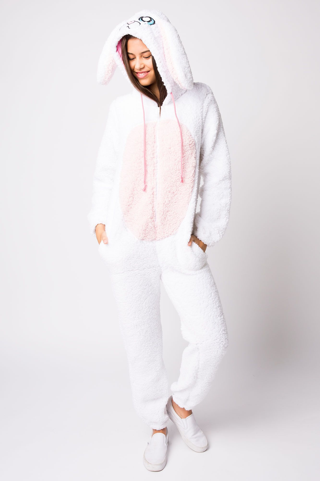 8627db8251b4 Girls Sherpa Rabbit Onesie