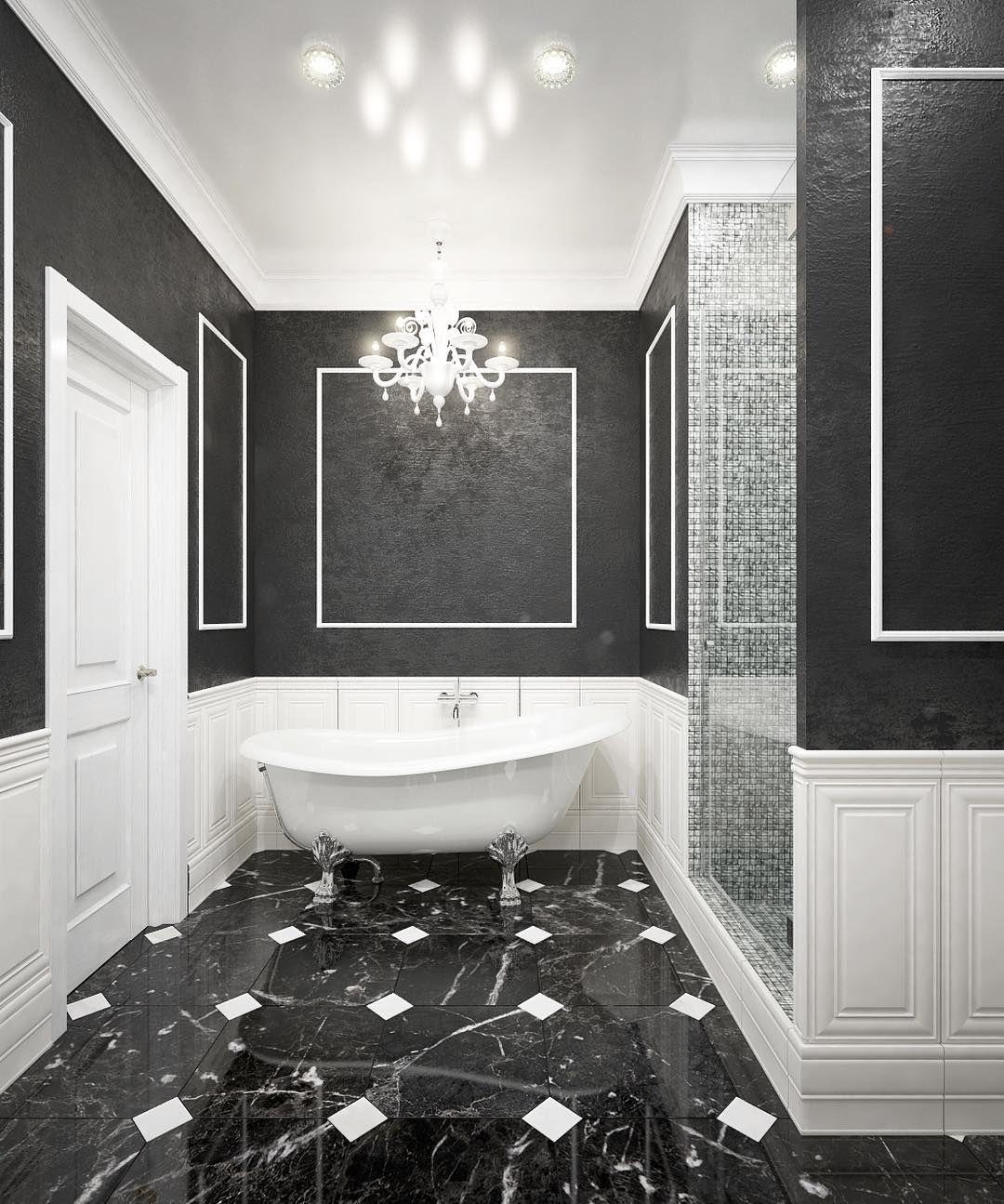 Classic Black And White Bathroom White Bathroom Black And White