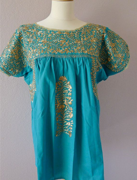 Mexican embroidered Wedding dress blouse Oaxaca by LivingTextiles, $140.00