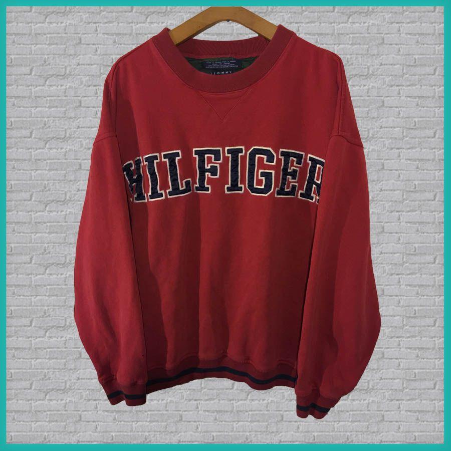 Vintage Tommy Hilfiger Sweatshirt Red Large Vintage Klamotten Retro Kleider Outfit Ideen