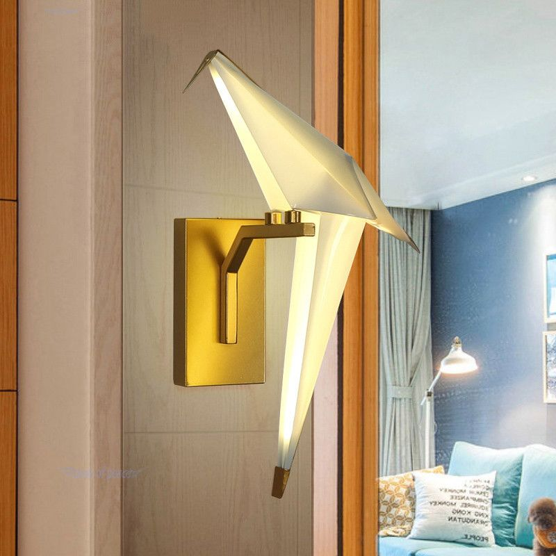 New fashion LED wall sconce lights origami white bird wall lamps ...