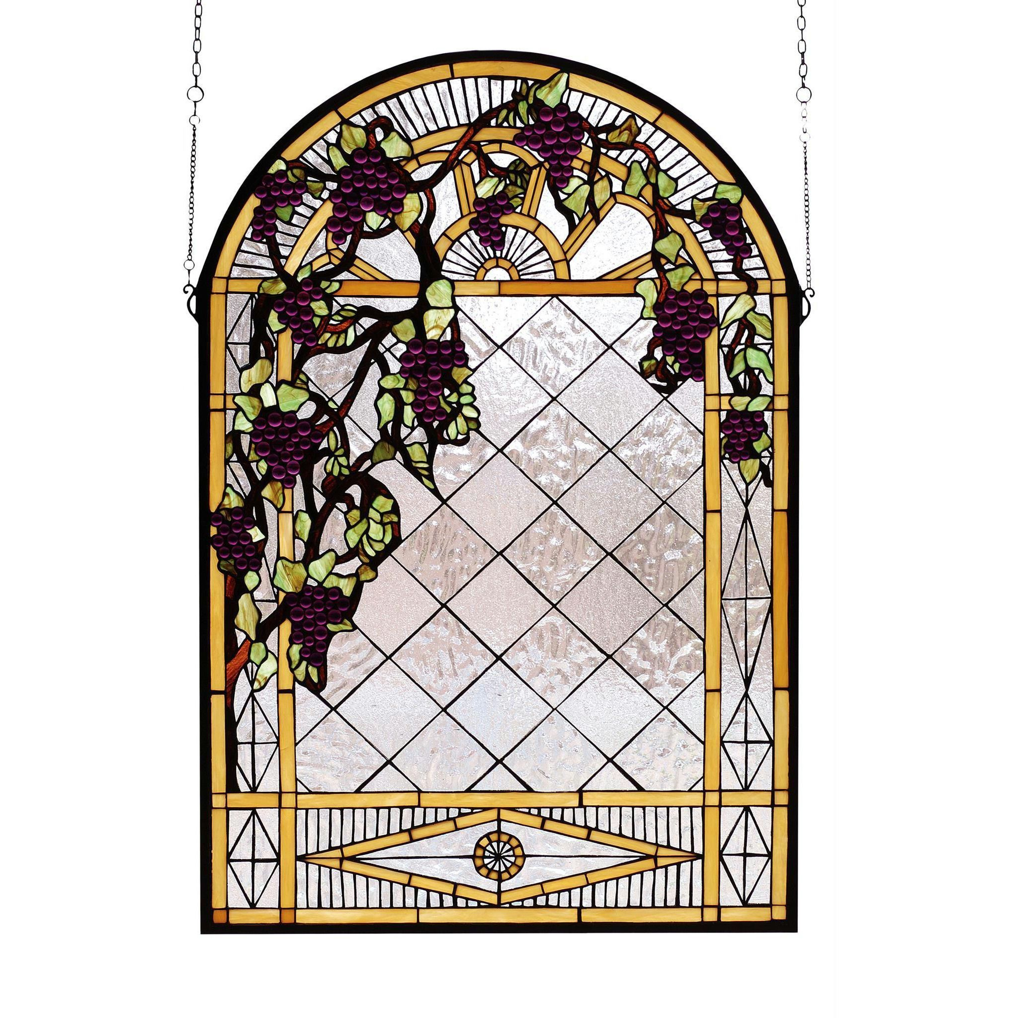 24 Inch W X 36 Inch H Grape Diamond Trellis Stained Glass Window 24 Inch W X 36 Inch H Grape Diamo Glass Window Art Stained Glass Panels Stained Glass Windows