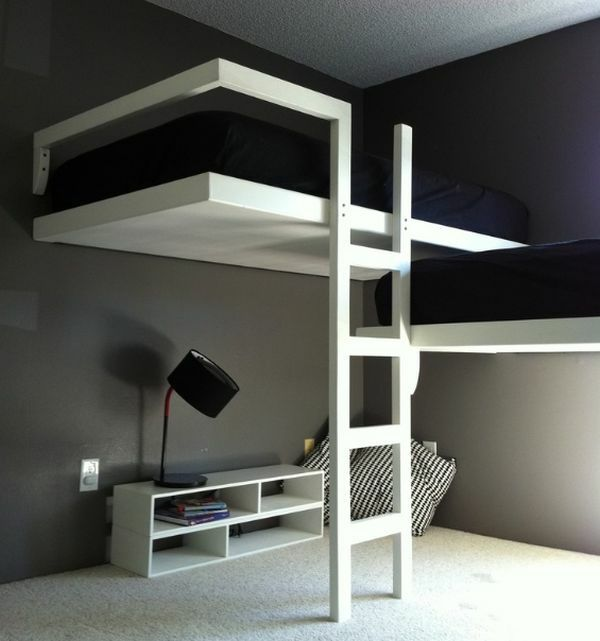 chambre moderne avec lit mezzanine appart st denis. Black Bedroom Furniture Sets. Home Design Ideas