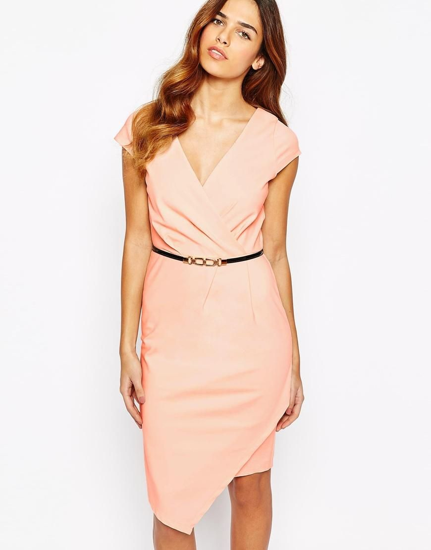 Paper Dolls | Paper Dolls Wrap Front Pencil Dress With Belt at ASOS