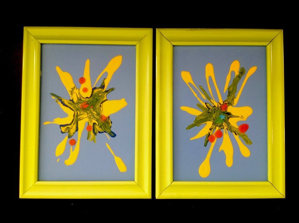 Wall Art 2 Lime Green Blue Yellow for Office Family Childrens Room ...