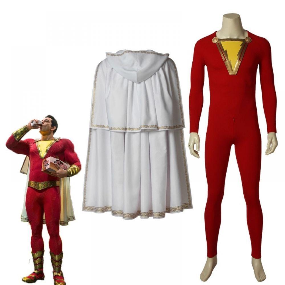 Captain Marvel Costume Billy Batson Cosplay Halloween Jumpsuit Suit Men Outfits