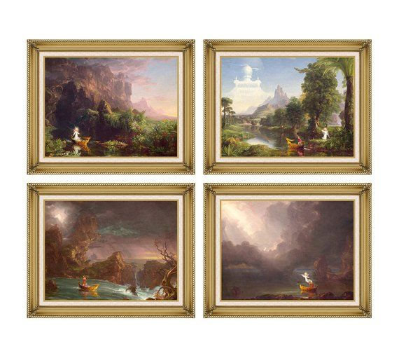 1a2e5adbb4 The Voyage of Life 1842 Thomas Cole Childhood Youth Manhood Old Age Framed  Art Print Painting Reprod