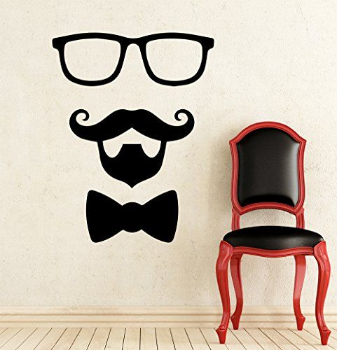 Amazon com wall decals barber shop mustache beard tie glasses boy salon hall bedroom decal home decor art murals mr790 home kitchen