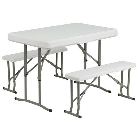 Flash Furniture Plastic Folding Table And Benches Walmart Com In 2021 Table And Bench Set Folding Table Flash Furniture