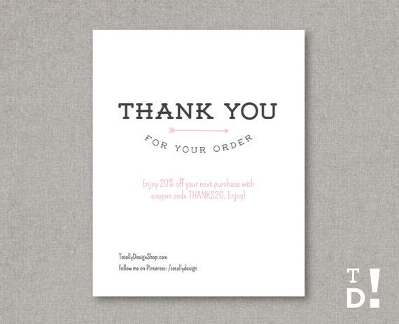 Thank You For Your Order Card Printable Instant By Totallydesign