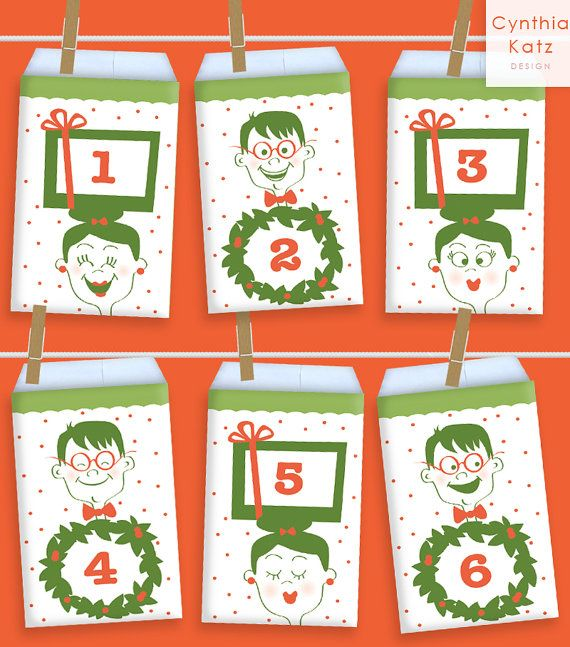Christmas Printable Advent Calendar by CynthiaKatzDesign #adventCalendar #adventskalender #cynthiakatz
