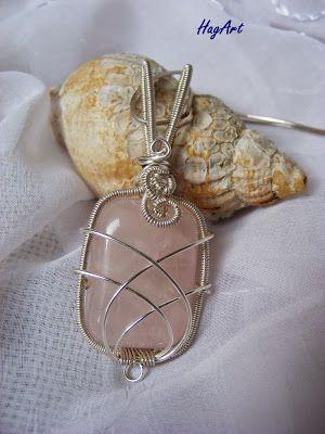 Wire wrapping: Geometrycznie - Kwarc Różowy